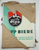 0.2.) Emailschilder / Werbeplakate Emailschild - Uracher Olpp Bräu.Orginales Packpapier noch