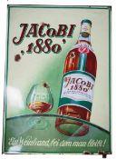 0.2.) Emailschilder / Werbeplakate Emailschild - Jacobi 1880. Ein Weinbrand, bei dem man bleibt!