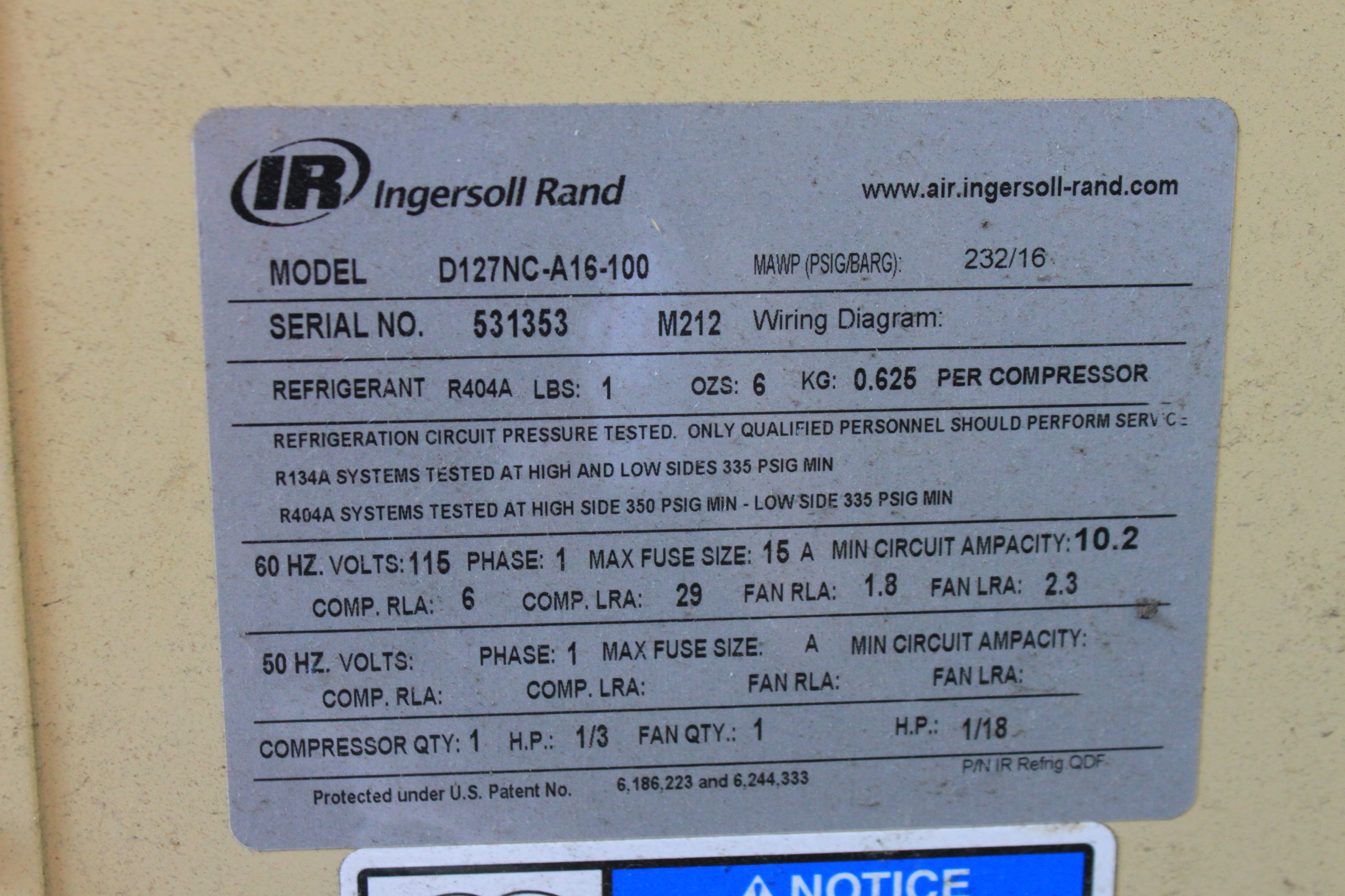 Ingersoll Rand Air Dryer Model D127nc A16 100 Single Phase 232 T30 Wiring Diagram Lot 72