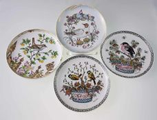 Vier Sammel-/Monatsteller - Hutschenreuther, unterschiedliche Vogelmotive, auf der Rückseite Angaben