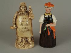 Zwei Figurenflaschen - Flaschen in Form eines Schwarzwaldmädels sowie eines Kellermeisters,Kopf