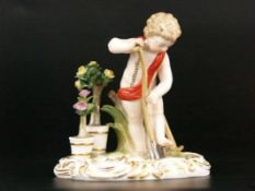 """Porzellanfigur """"Amor als Gärtner""""/Allegorie """"Die Erde"""" - Meissen, blaue Knaufschwertermarke,2.Hälfte"""