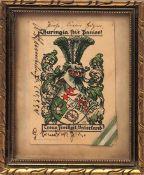 Verbindungswappen, 19.Jhdt. Wappen der Thuringia mit Widmungsinschrift und Stück eines Bandes.