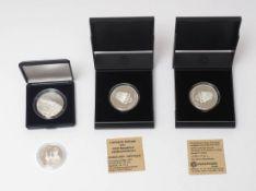 Vier Silbermedaillen 150 Jahre badische Revolution Offenburg, Papstbesuch 1996 in Berlin, Kloster