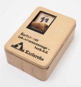 Spardose, Karlsruher Lebensversicherung, 30er Jahre Entwurf Marianne Brandt, Hersteller Ruppel-