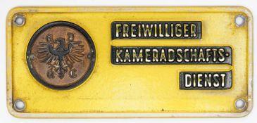 """Plakette """"Freiwilliger Kameradschaftsdienst"""", ADAC, um 1950 Guter Zustand. L.12cm."""