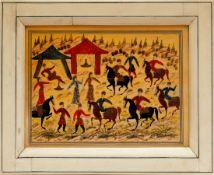 Miniaturmalerei, Persien Partie in einem Zeltlager mit Reitern und Tänzerinnen. Mischtechnik auf