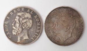 Zwei Silbermünzen, Rumänien Eine aus dem Jahr 1883. Gesamtgew.49g.