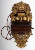 Wandtelefon In der Art der Jahrhundertwende. Messing und Holz. Als Nebenstellenapparat verwendbar.