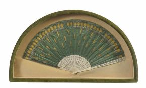 An ivory and green silk fan 19th century, 29by54cm.