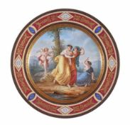 A large Vienna polychrome porcelain plate painted with an amorous allegory with Cupid, 19th century,