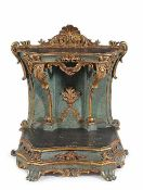 A Louis XV Roman lacquered and gilt wood faldstool 99x87x57cm. (some lacquer restorations)