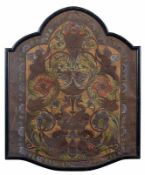 An old Cordoba polychrome leather panel 97by80cm.