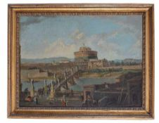 Jacob Van Lint (attr.) A view of Castel S.Angelo with the bridge oil on canvas, 74by98cm; coeval