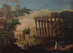 Roman painter, 18th century A view of Rome with figures oil on canvas, 74by101cm.