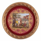 A large Vienna polychrome porcelain plate painted with the scene of Mercury and Erse, 19th