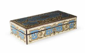 A mother of pearl, enamel and gilt copper inlaid sewing box containing 20 tools in mother of