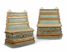 A pair of Roman green laquered and gilt-wood benches 18th century, 129x118x44cm. (some laquer