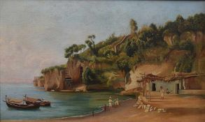 Neapolitan painter, 19th century A sea view with fishermen oil on canvas, 35by56cm.