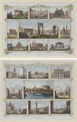 A pair of watercolored engravings with nine views of Rome each, 22by30cm.