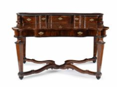 A Roman Sanfilippo walnut desk early 18th century, 96x156x80 (minor lacks)