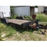 """16 Long, 6'9"""" wide Tandem Equip Trailer. Fold up ramps, wood deck, decent rubber, pintle ring"""