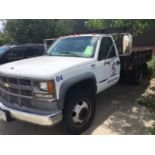 """1999 Chevy 3500 HD Stake Body Truck (6.5 diesel, 94007 miles, 12'x8' bed, 16"""" rails, hitch)"""