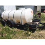 15' x 8.5' flat bed Tandem trailer. Pintel. Ramps.wood floor. Comes with water tank. Needs tire...