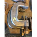 pair of C clamps. 1- J.H. Williams 1- made in England Lion No. 5,
