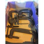 misc flat of C clamps