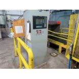 """Sandy Hill roll splitter, model 60x100, s/n 1044, with 24' long x 48"""" wide continuous belt,"""