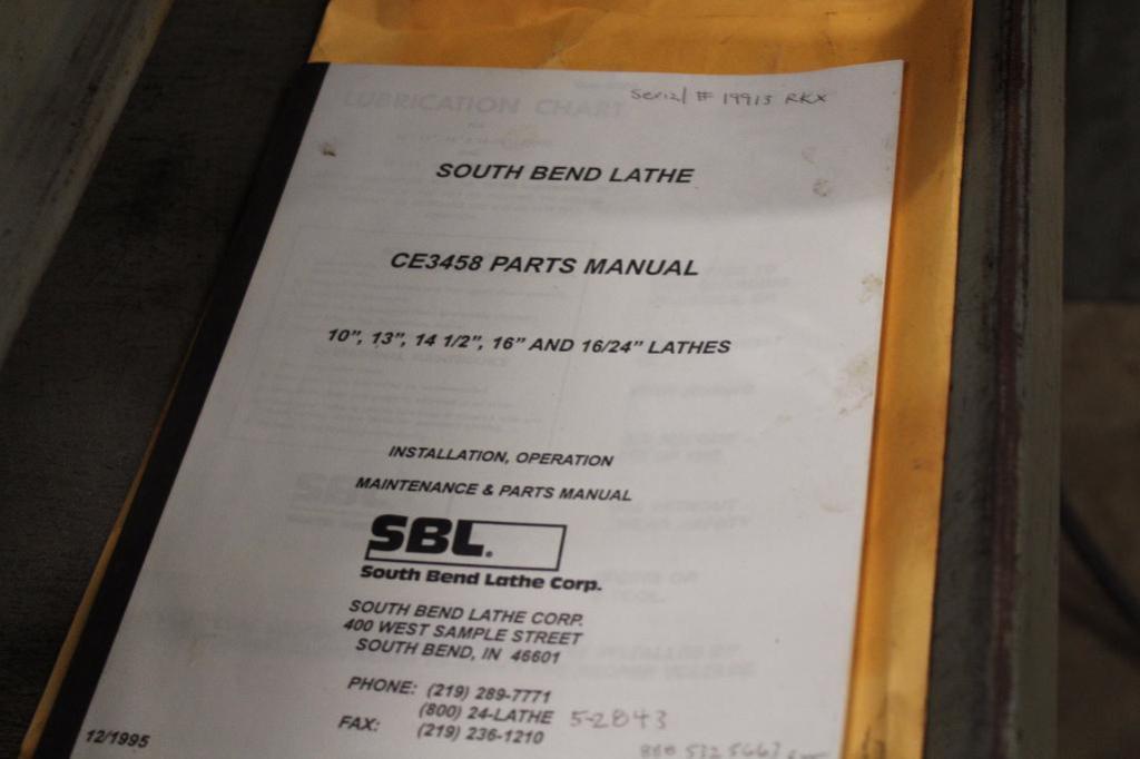 """Lot 9 - South Bend Lathe CL187ZB 10"""""""