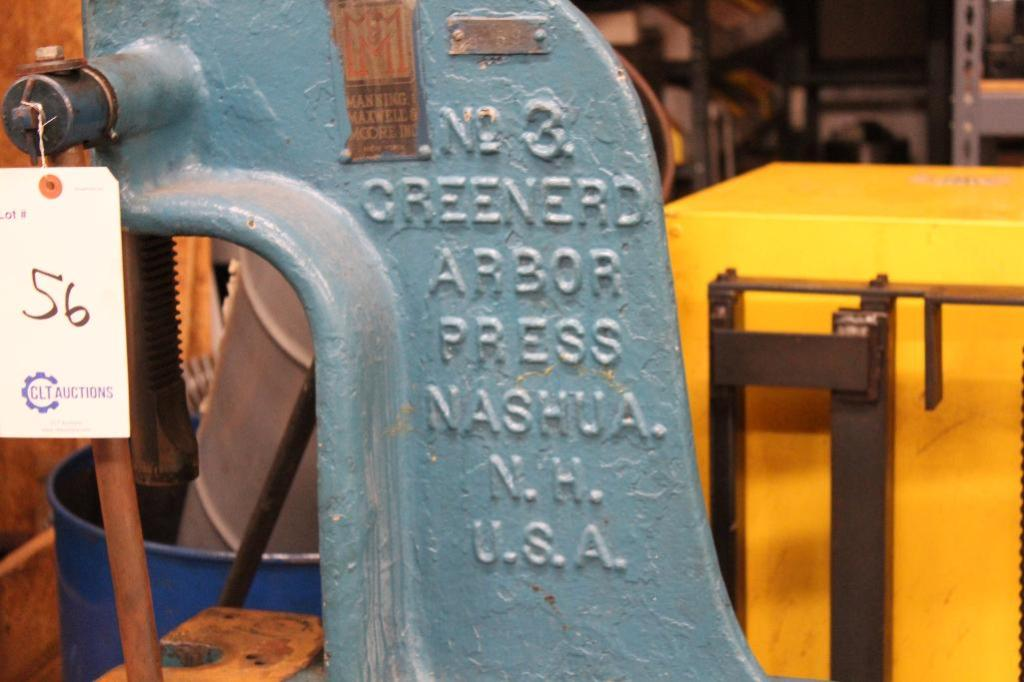 Lot 56 - Greenerd No.3 Arbor Press w/ stand