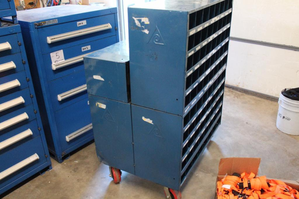 Lot 4 - Rolling hardware bin cabinet