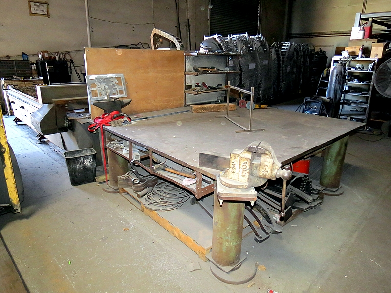 Lot 5 - Metal Welding Table 7' x 7 1/2' with Bench Vise and Anvil