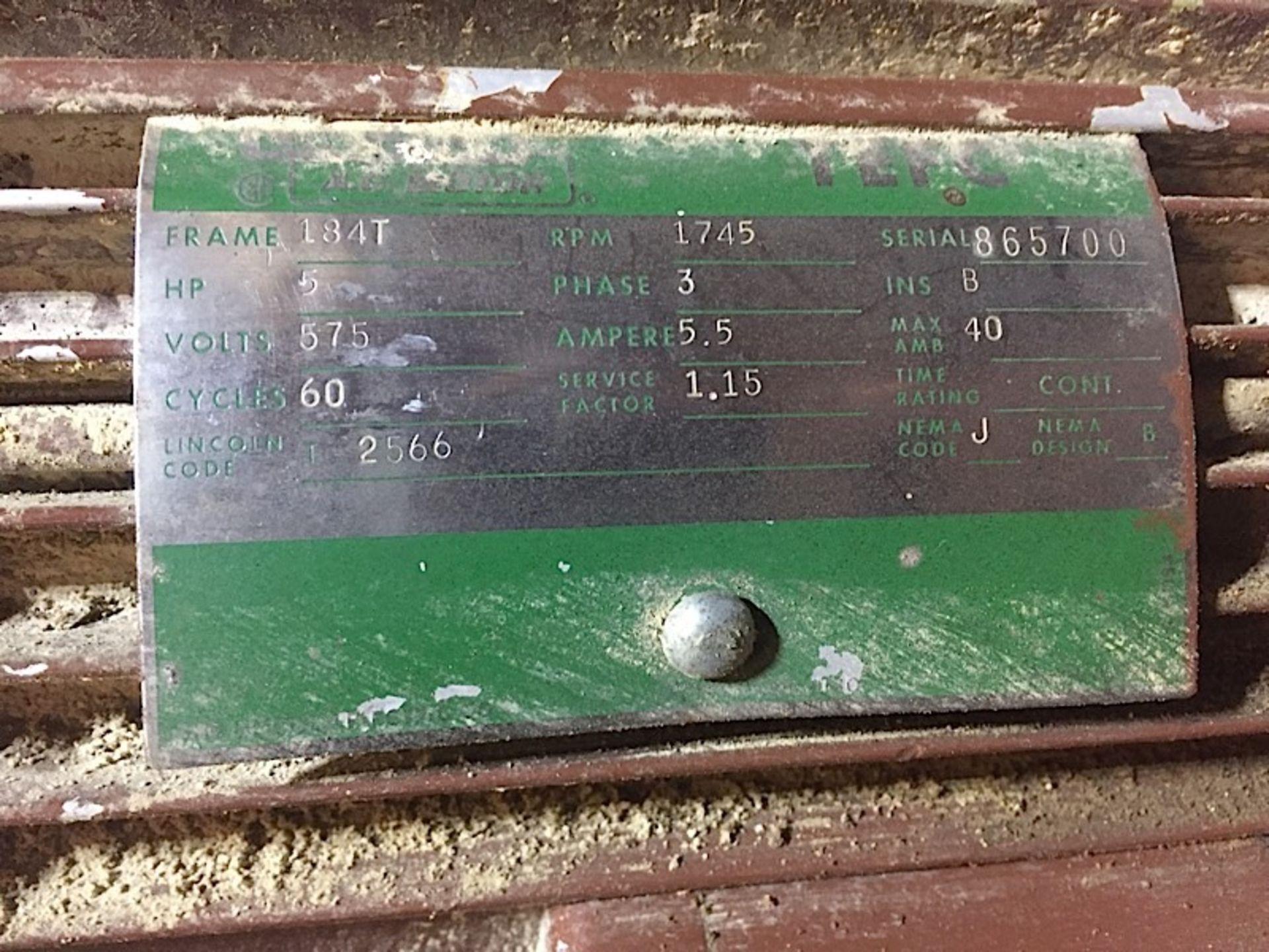 CAMERON 5HP AIR COMPRESSOR - 600V 3 PHASE - Image 3 of 4