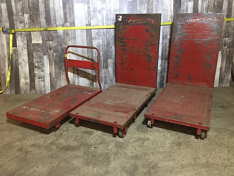 Lot 3c - LOT OF 3 HEAVY DUTY RED CARTS