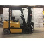 YALE (MODEL #GLP050RGNUAE090) 5,000LBS LP PROPANE 3 STAGE *OUTDOOR* FORKLIFT - SERIAL #A875B06653X