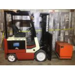 NISSAN (MODEL #CWPO2L25S) 4,000LBS ELECTRIC 4 STAGE FORKLIFT - SERIAL #LPI958001 INCLUDING