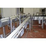 (2) Sections Can Lines S/S Frame Product Conveyor with (2) Drives, and 90 and 45 Degree Turns,
