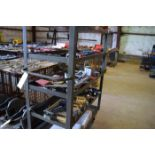 Assorted Framing Squares, Level, Drill Bits, and Bending Shoes, Cart Included