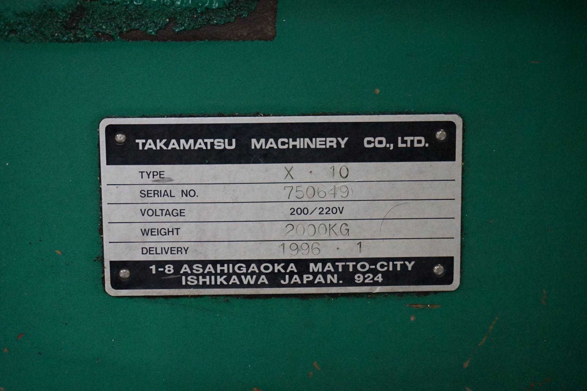 Takamatsu Model X10 CNC Lathe 200/220V c/w Chip Conveyor, Transformer - Image 4 of 6