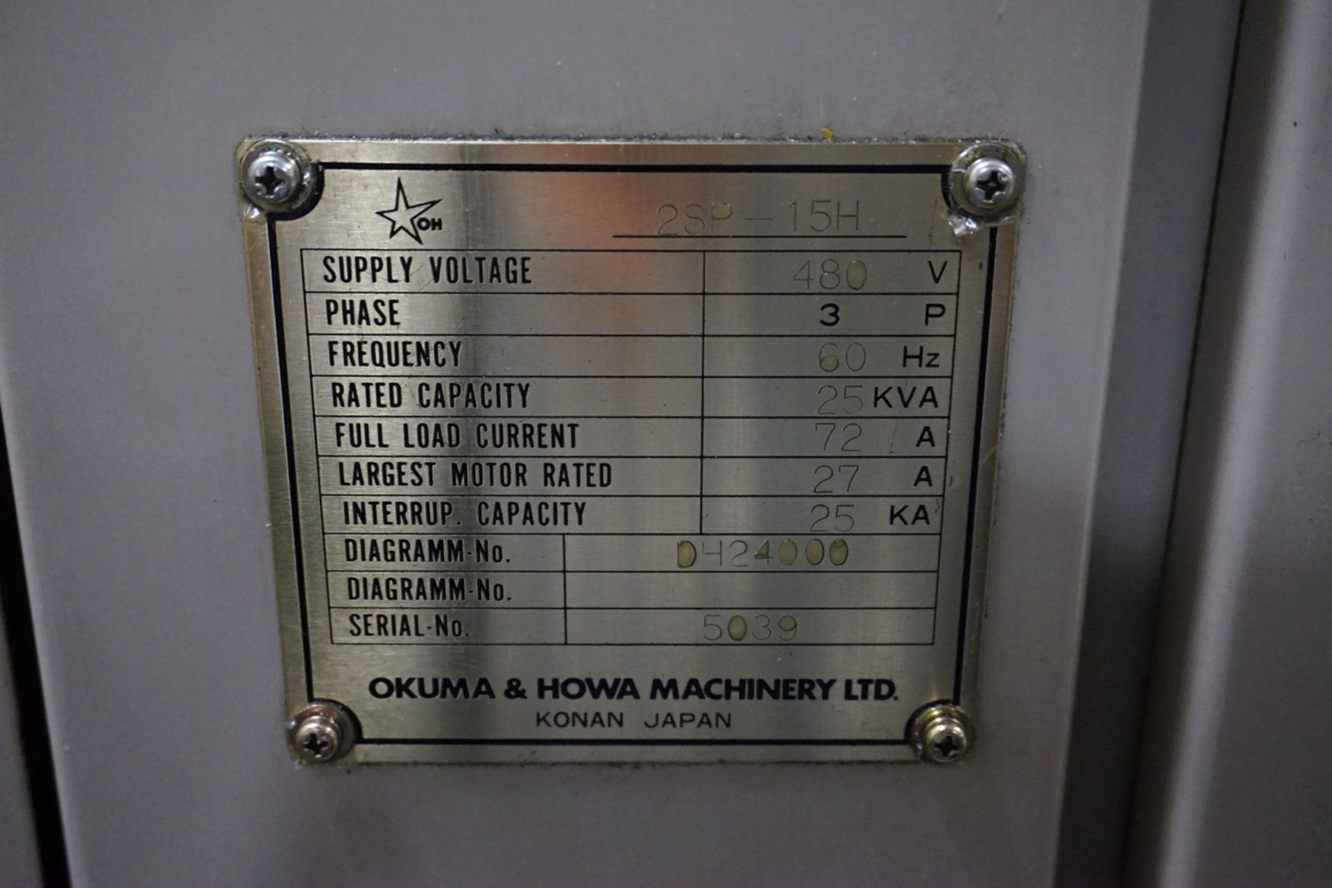 Okuma-Howa Model 2SP-15H CNC Lathe c/w Fanuc 18-TT Controller, Transformer - Image 6 of 6