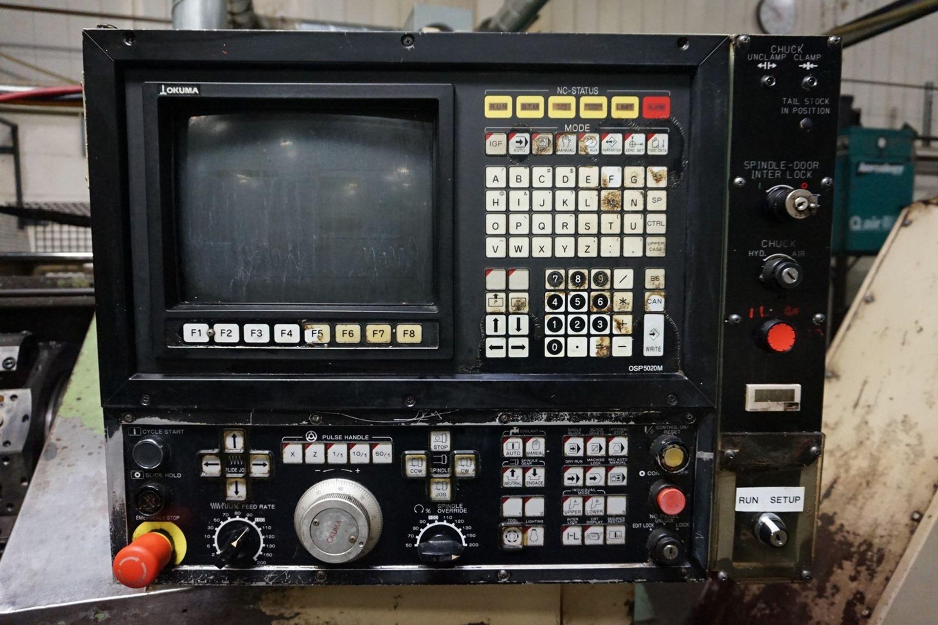 Okuma Model LB15 CNC Lathe 220/440V with Enomoto Chip Conveyor, Transformer - Image 2 of 6