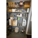Contents of Rack includes: Assorted Lab Glassware includes Flasks, Beakers, Culture Tubes, Syringes,