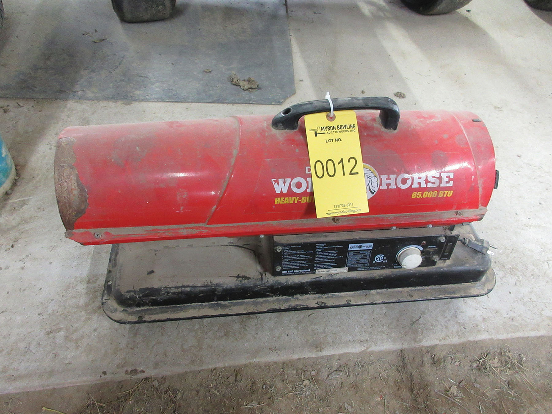 Lot 12 - DYNA-GLO WORKHORSE 65,000 BTU OIL FIRED HEATER; S/N 0208100206