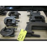 LOT OF C-CLAMPS (17), H.D., assorted