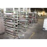 LOT OF (8) A-FRAME RACKS CONTAINING RUBBER AND METAL ROLLS, spare rolls for blown film/printing