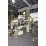 """BLOWN FILM BAG EXTRUSION LINE, consisting of: Kung Hsing Mdl. 45 Extruder, 15 HP motor, 12"""" ring, 45"""