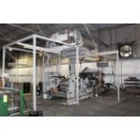 """CI FLEXOGRAPHIC PRINTING PRESS, FAUSTEL MDL. E41-II, 44""""W. cap., 4-color, fume exhaust blower"""